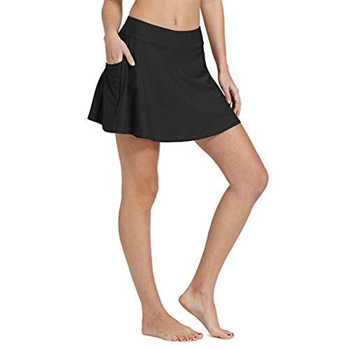 Kikoy womens swimsuit Women's Skirted Bikini Bottom High Waisted Beach Pocket Skirt Black
