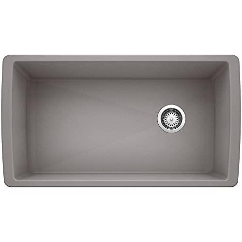 BLANCO, Metallic Gray 441770 DIAMOND SILGRANIT Super Single Undermount Kitchen Sink, 33.5' X 18.5'
