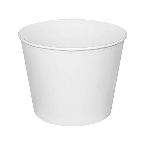 Karat C-FB130W_Bundle 130 oz Food Buckets with Paper Lids (215mm) - (Case of 125)