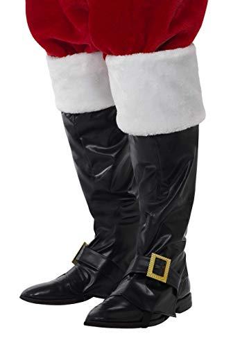 Smiffys Herren Weihnachtsmann Stiefel Überzieher mit Pelz, One Size, Schwarz, 21419