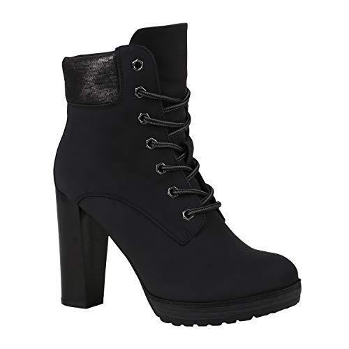 Damen Schnürstiefeletten Worker Boots Stiefeletten Block Absatz 172573 Schwarz 40 Flandell