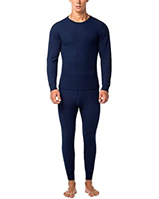 LAPASA Men's Thermal Underwear Long John Set Waffle Knit Base Layer Top and Bottom M60 (Medium, Navy)
