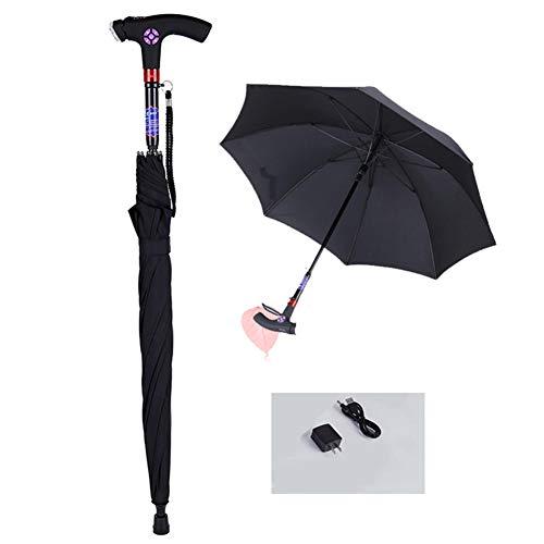 LFFME Multi-Funktions-Intelligent Ältere Krücken Regenschirm Gehstock Stock, Aluminium Gehhilfen mit LED-Licht - Vierbeinige Cane,Schwarz