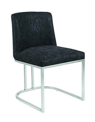 Coaster Home Furnishings Fueyes Upholstered Black and Chrome Dining Chair, 32' H x 23' W x 20' D