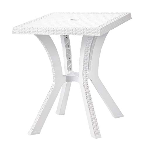 TABLE EN RÉSINE IMITATION ROTIN GASTON BLANC 60 X 60 CM JARDIN 004760