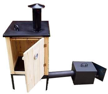 QLS Räucherofen traditioneller Smoker Räucherkammer aus Holz mit Feuerkammer und Dach Mobil Komplettset 50x50x80 cm