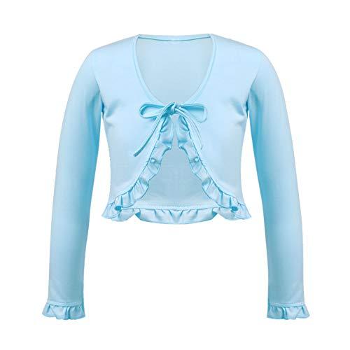 inhzoy Maglioncino da Balletto Bambina Vestito da Danza Classica Ballerina Ginnastica Artistica Cardigan in Cotone Bolero Ruffle Top Scaldacuore Manica Lunga Scollo a V Azzurro 11-12 Anni
