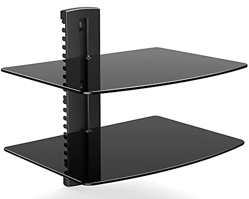 FITUEYES Cristal 2 Estantes de Pared Soporte para Reproductor de DVD Cable Caja Negro DS203801GB 🔥