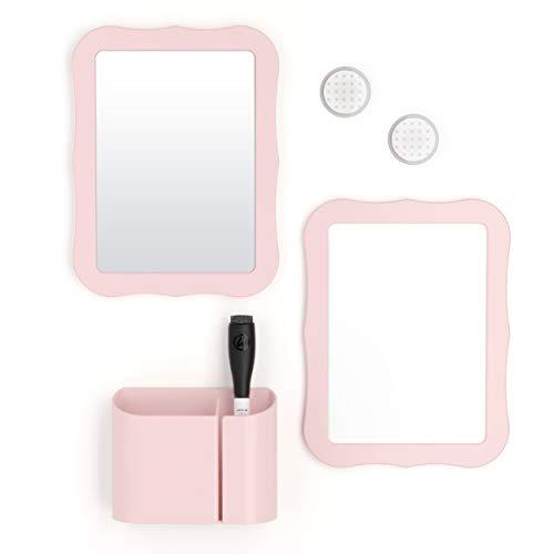 U Brands Locker Accessories Kit Back to School Essentials Blush 6-Piece Includes Whiteboard Mirror and Organizing Supplies