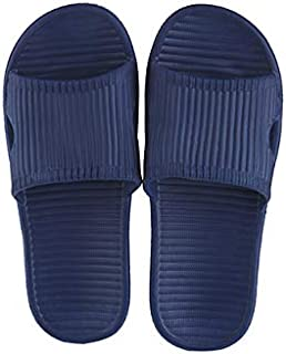 Miniso Men's Simple Stripes Slippers(Blue 41-42) hotel eva bathroom bath indoor soft bottom simple home non-slip Slipper