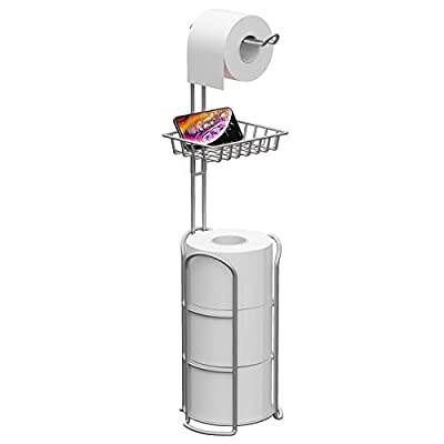 KeFanta Upgrade Toilet Paper Holder Stand, Silver Freestanding Toilet Paper Roll Holders with Shelf, Bathroom Tissue Storage Rack