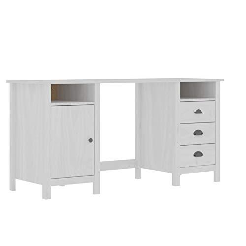 pedkit Escritorio con 3 Cajones 2 Compartimentos y 1 Puerta Mesa de Ordenador Mesa de Escritorio para Oficina Madera de Pino Blanco 150x50x74 cm