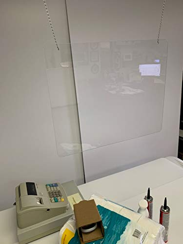 Hanging Acrylic Plexiglass Shield for Counters, 36' x 24.01' Sneeze Shields Food Screen, Transaction Window for Employers, Barrier Against Coughing & Sneezing