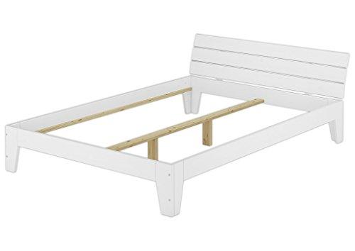 Erst-Holz® Doppelbett 140x200 Futonbett Jugendbett Bettgestell Holzbett Massivholz Kiefer Weiß 60.54-14 W oR