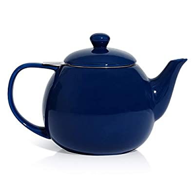 Sweese 221.103 Teapot, Porcelain Tea Pot with Stainless Steel Infuser, Blooming & Loose Leaf Teapot - 27ounce, Navy