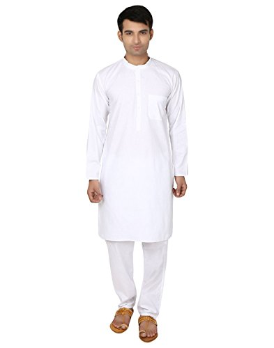 White Cotton Kurta Pyjama Yoga Mens indische Kleidung (XXXL)