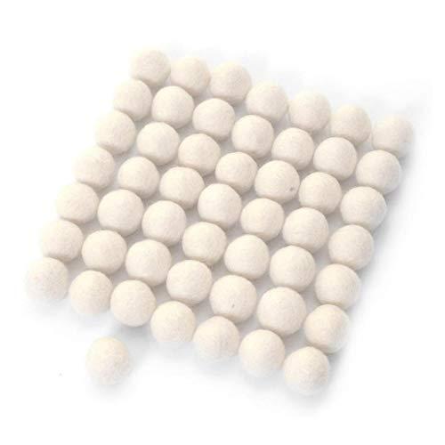 Schnuger Fieltro de Lana Bolas Pompones de Bricolaje decoración de Bolas de Fieltro monocromática pequeña de Fieltro Interior 60PCS 1.5cm Adornos Blancos Garland