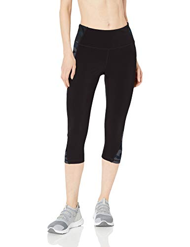 Amazon Essentials Colorblock Performance Mid-Rise Capri Legging Athletic-Leggings, Negro, Gris (Black/Grey Camo), Medium