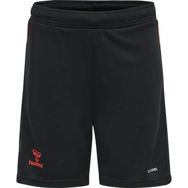 Hummel 210989 Pantalones Cortos, Negro/Fiesta, 152 cm Unisex niños