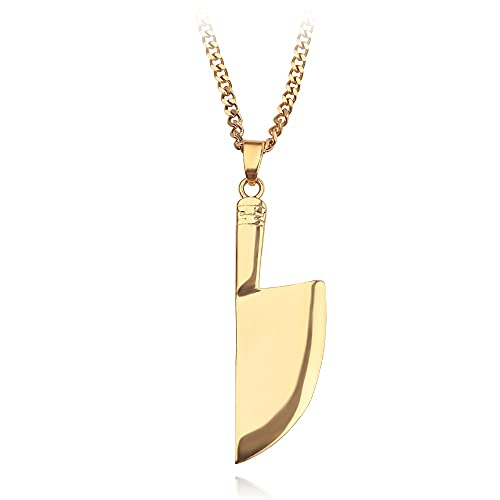 VAWAA Couteau de Cuisine Pendentif Collier Or en Alliage de Zinc Outil de Coupe de légumes Couteau de Cuisine Collier personnalité de Bijoux à la Mode