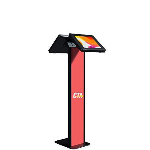 CTA Digital: Premium Dual Enclosure Locking Floor Stand Kiosk with Graphic Card Slot for 10.2-inch iPad 7th & 8th Gen & More, Black