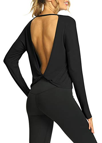 Mippo Long Sleeve Workout Tops Backless Shirts Flowy Open Back Long Sleeve Athletic Gym Shirts Activewear Tops Dance Sports Running Clothes for Women Black S
