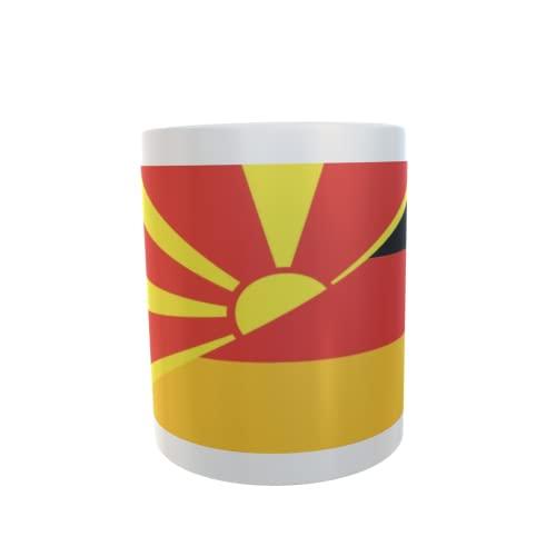 U24 Tasse Kaffeebecher Mug Cup Flagge Mazedonien-Deutschland
