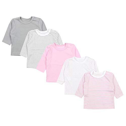 TupTam Baby Mädchen Langarmshirt Sterne 5er Pack, Farbe: Farbenmix 2, Größe: 56