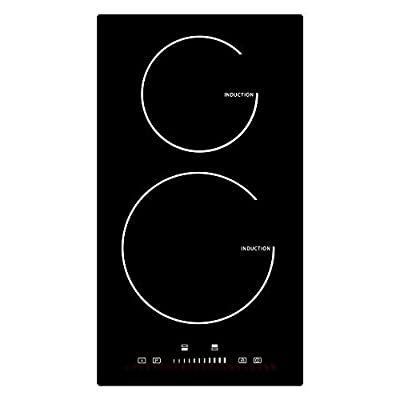 """12"""" Induction Cooktop 2 Burners,Electric Cooktop 2 Boosters High Power 3600W 60HZ &240V, Electric Stove with Touch Control Child lock&Timer"""