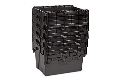 5x New 70 Litre Black L600xW400xH400 Recycled Plastic Storage Boxes Crates Totes with Lids - Industrial Strength Stack and Nest Containers