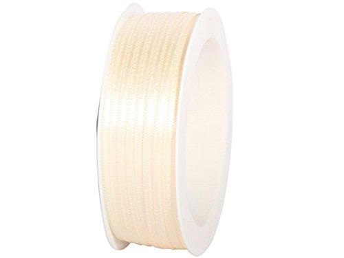Satinband - Dekoband Geschenkband in verschiedenen Stärken und Farben (50m x 3mm, Creme)