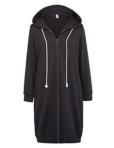 Femme Cardigan Longue Hoodie Sweat-Shirt Longue à Capuche Hoodie Chic avec Poches Décontracté -1 Noir L