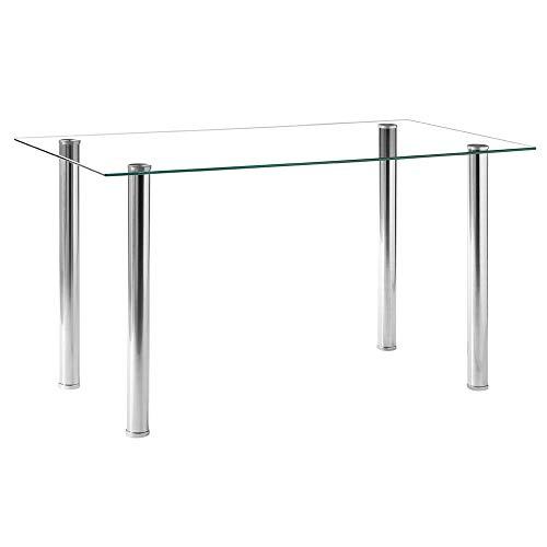 Moskado Simple Assembled Transparent Glass & Iron Dinner Table