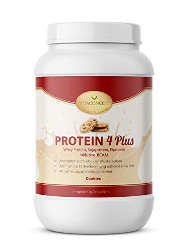 PROTEIN PULVER 4 PLUS I 1kg Proteinpulver I Whey Protein - Sojaprotein inkl. BCAA I Made in Germany von VITACONCEPT Cookies