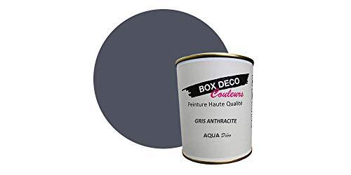Peinture acrylique aspect velours Aqua déco - Murale - 44 couleurs - 0,7 L - 7,5 m² (Gris...