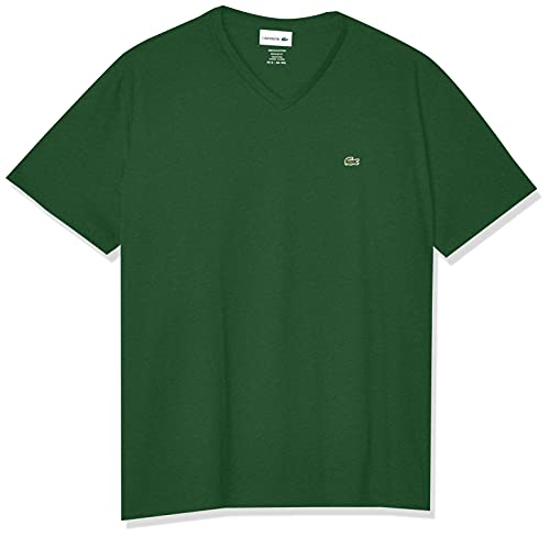 Lacoste Men's Short Sleeve V-Neck Pima Cotton Jersey T-Shirt,Green,X-Large