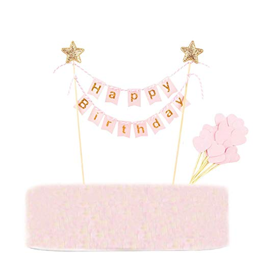Callaia Happy Birthday Cake Topper Banner Bunting Pink, Kuchen Toppers Banner Rosa, Herzform Cupcake Toppers Geburtstag Party Dekoration (Set of 31)