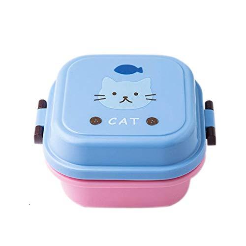 N / A Dibujos Animados de plástico Saludable Lonchera Horno de microondas Almuerzo Bento Boxes Contenedor de Comida Vajilla Kid Childen Lunchbox 540ml