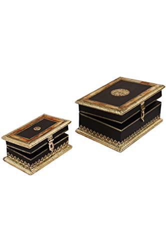2er SET Orientalische kleine Aufbewahrungsbox mit Deckel Babuna 22cm groß | Orientalischer Schmuckkästchen für Mädchen und Damen zur Schmuckaufbewahrung | Marokkanische Schatulle Box aus Holz - 6