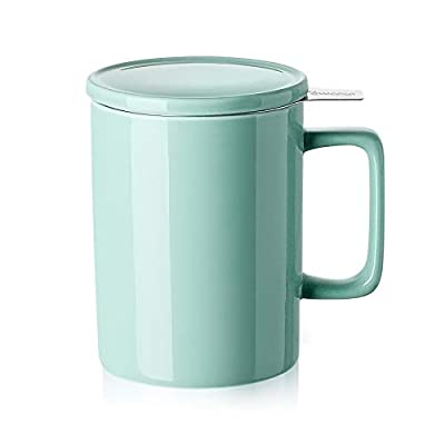 Sweese 205.109 Porcelain Tea Mug with Infuser and Lid - 14 OZ, Mint Green