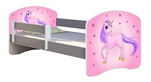 ACMA Letto per Bambino Cameretta per Bambino con Materasso Cassetto II Grigio (17 Il pony con lo sfondo rosa, 180x80)