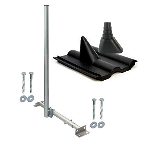SkyRevolt Aufdachsparrenhalter SAT TV Dachsparrenhalter 120cm Kabel-Einführung Mast 48mm Aufdach-Sparren-Halterung für Satellitenschüssel   Dachmontage-Set