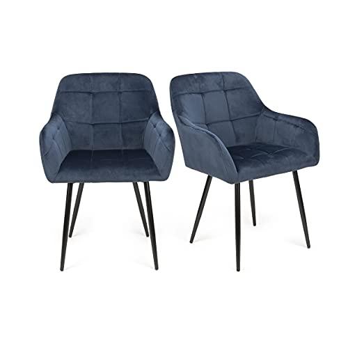 Futurefurniture. 2er Set Esszimmerstühle,esszimmerstuhl,esszimmerstühle 2er Set,stühle esszimmer,Samtstoff,-Blau