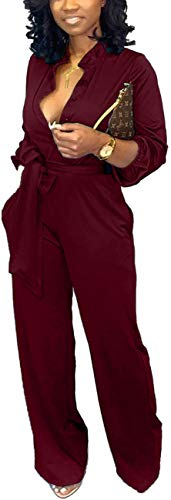 Business Romper for Women's Sexy V Neck Jumpsuits Elegant Long Sleeve Button Down Straight Long Pants with Pockets Belt