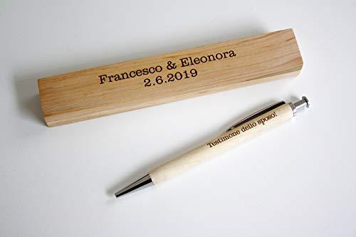 Penna personalizzabile con nome e scatola incisa in legno, incisione con il vostro testo Regalo personalizzato ideale per compleanno, Natale, pensionamento.