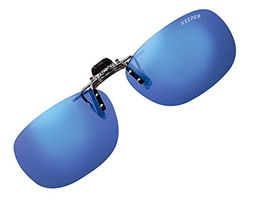 日本製 偏光 前掛け クリップ 式 サングラス メガネの上から 紫外線カット UVカット 超軽量 跳ね上げ式 男女兼用 キーパー 9324 (ブルーミラー)