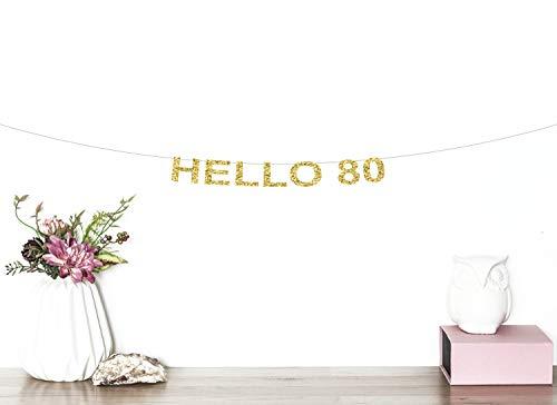 Hola 80 Banner con purpurina para 80 cumpleaños, decoración para 80 cumpleaños