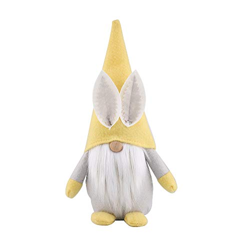 Moskado Easter Rabbit Ornament, Easter Gnomes Gonk Ornaments, Faceless Doll Decorations Room Desktop Decoration Standing Post, Easter Bunny Gnome Decoration, Plush Doll Toys Gifts (Yellow)
