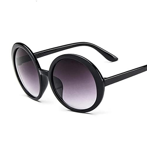 ShZyywrl Gafas De Sol Gafas De Sol Redondas Mujer Vintage Clásico Estilo Hip Hop Gafas De Sol Mujer Puente Doble Marco Rosa Negrogris