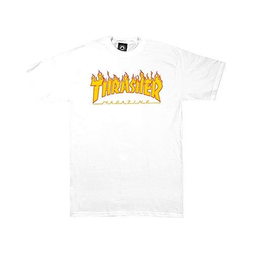 Thrasher Flame T-Shirt Unisexe Adulte XXL Blanc